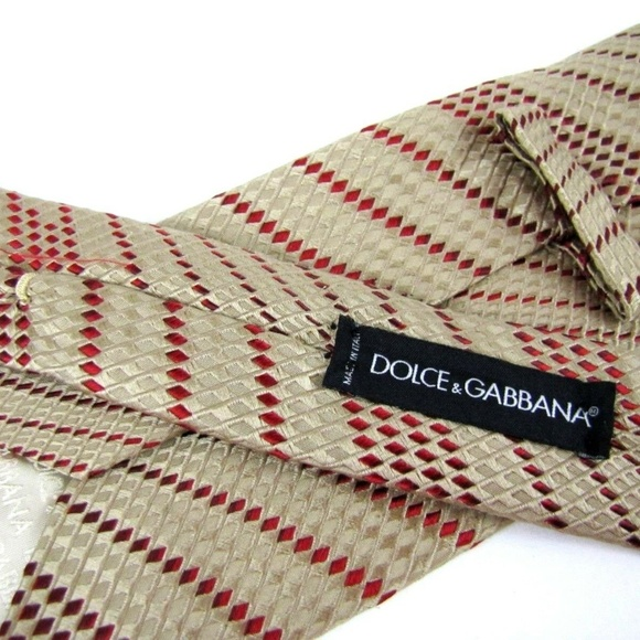 Dolce & Gabbana Other - DOLCE & GABBANA Tie Tan Red Dashed Stripes Texture